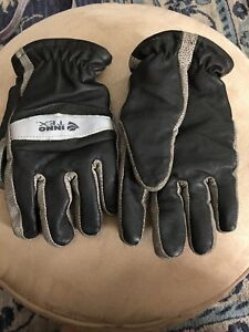 Innotex Inno795 m Medium Firefighter Turnout Bunker Leather Gloves Gray black