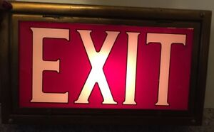 Vintage Art Deco Theater Reverse On Glass Exit Sign Brass Framed