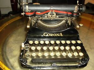 Vintage 1900s Corona Folding 3 Bank Portable Typewriter Everything Works
