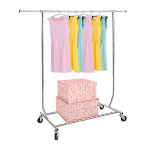 Clothing Garment Rack Heavy Duty Portable Collapsible Rolling Adjustable Chrome