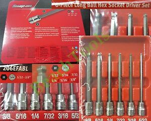 New Snap On 3 8 Long Standard Ball Hex Socket Driver 6 Pcs Set 206efabl Sae