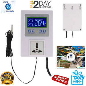 Lcd Digital Intelligent Pre Wired Temperature Controller Outlet With Sensor New