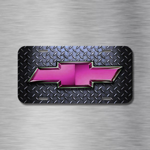Chevy Chevrolet Pink Bow Tie Vehicle License Plate Front Auto New Diamond Plate
