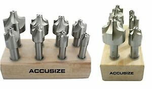 Corner Rounding End Mill Set Of 8 Drill Bits Hss Size From 1 16 To 3 8 Tools