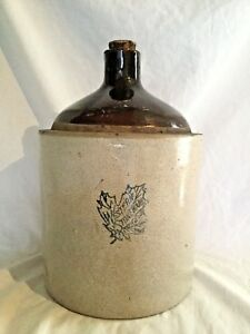 Vintage Western Stoneware Shoulder Jug Moonshine Whiskey Crock Maple Leaf Cork