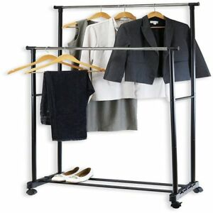 Heavy Duty Commercial Clothing Garment Rolling Shoes Rack Standard Double Rod
