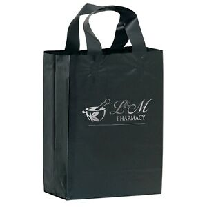 250 Custom Color Frosted Soft Loop Shopper Bag Foil Stamp W Your Logo Message