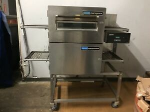 Lincoln Impinger Double Stack 1133 Pizza Conveyor Ovens On Rolling Stands 2 Avai