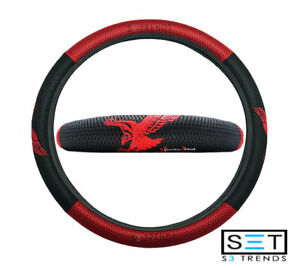 Eagle Steering Wheel Cover Red Black Mesh Stitch Detailing