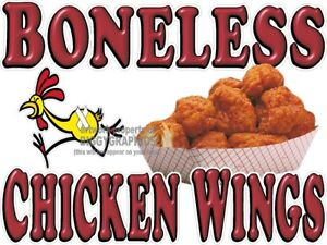 Boneless Chicken Wings Vinyl Decal choose Size Concession Stand Boardwalk