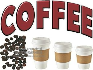 Coffee Vinyl Decal choose Size Concession Stand Boardwalk