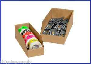 50 Pack Kraft Corrugated Open Top Storage Bin Boxes 16 Sizes Available