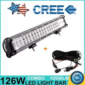 20inch 126w Cree Spot Flood Combo Work Driving Led Light Bar Suv With Wiring Kit