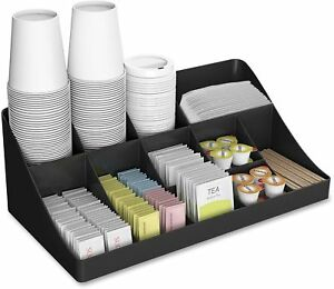 Mind Reader pioneer 11 Compartment Breakroom Coffee Condiment Organizer Black