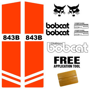 Bobcat 843b 843 B Skid Steer Set Vinyl Decal Sticker Kit 9 Pc Set Applicator
