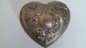 Heart Shaped Trinket Jewely Box Silver Plated