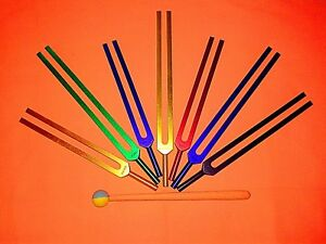 New 7 Chakra Tuning Fork Color Therapy Energy Healing Mallet