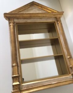 Vintage Wall Gold Gilt Glass Display Case Cabinet Curio Neoclassical Italy