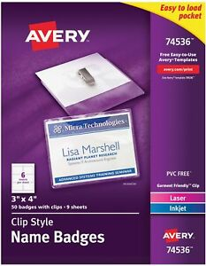 Avery Garment Friendly Clip Style Name Badges 3 X 4 White Top loading 50