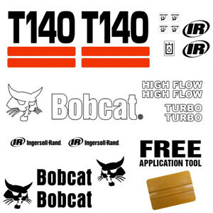 Bobcat T140 Skid Steer Set Vinyl Decal Sticker 21 Pc Set Free Decal Applicator
