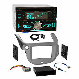 Kenwood Usb Bluetooth Sirius Stereo Silver Dash Kit Harness For 09 13 Honda Fit