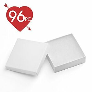 Mesha 96 Pcs Jewelry Boxes 3 5x3 5x1 Inches White Square Cardboard Bracelet With