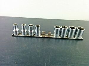 Snap On 8 piece 1 2 Drive Metric Socket Set Shallow 6 point 10 13 16 19mm Usa