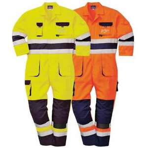 Portwest Nantes Hi Vis Coverall Overall Knee Pads Reflective Contrast Tx55