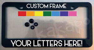 Custom Personalized Black License Plate Frame Screw Covers Color Choice Font 4