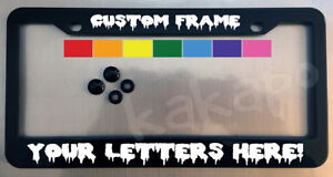 Custom Personalized Black License Plate Frame Screw Covers Color Choice Font12