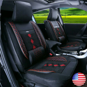 Deluxe Edition 5 seats Car Seat Cover Cushion Mat 2 Front Pu Leather W Pillows