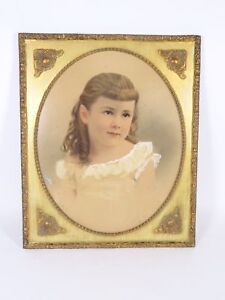 Vintage Gold Ornage Wooden Oval Picture Art Frame Fits 16x20 Girl Portrait