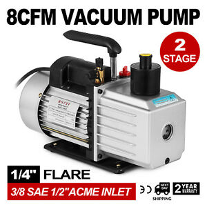 8cfm 2 stage Rotary Vane Professional Vacuum Pump 15micron 1hp 1 4 flare 3 8
