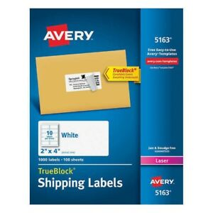 Avery Labels With Trueblock Technology 2 X 4 1000 count
