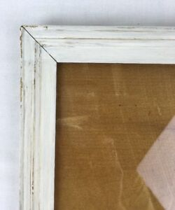 Antique 8x11 Wood Picture Frame White Over Orig Gilt Gold W Wood Back