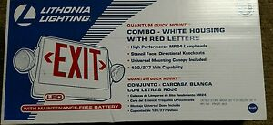 Lithonia Lighting Exit Sing Quick Mount White Housing With Red Letters