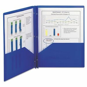 Smead Poly Two pocket Folder With Fasteners 8 1 2 X 11 Blue 25 box smd87726