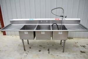 3 Compartment Sink With Sprayer Stainless Steel 106