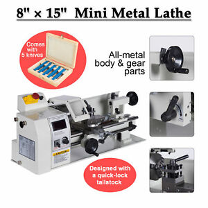 8 X 15 Mini Metal Lathe Machine Variable Speed Dc Motor Driven 600w