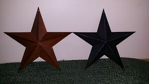 2 Metal 12 Barn Stars 1 Rusty 1 Black Primitive Farmhouse Decorate New