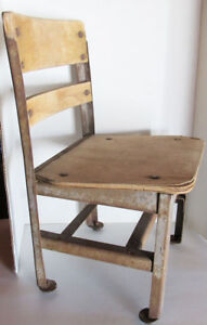 Antique Vintage Children S Kid S Small School Wood Metal Chair 21inches Tall
