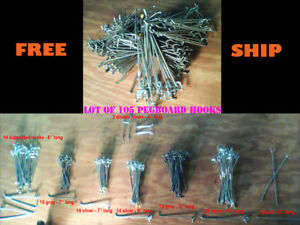 Lot Of 105 Assorted Metal Pegboard Hooks Various Sizes See Description