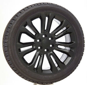 Chevy Silverado Tahoe 22 Gloss Black Split Spoke Wheels Bridgestone Tires Rims