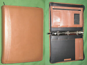 Classic 1 0 Brown Leather Day Runner Planner Tan Binder Franklin Covey 7088
