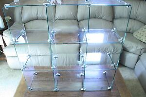 Glass Cube Store Display Fixture Collectors Shelving Retail