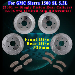 Front Rear Slot Brake Rotors And Ceramic Pads Fit 2000 Gmc Sierra 1500 Sl 5 3l
