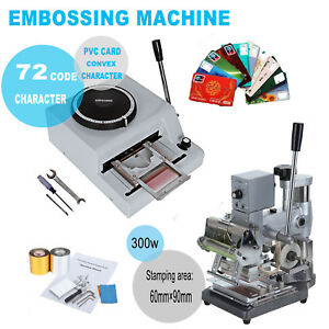72 Character Embossing Machine Hot Foil Stamping Tipper Pvc Card Foil Paper 110v