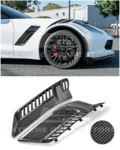 For 14 up Corvette C7 Z06 Carbon Fiber Front Bumper Side Fender Grille Vents