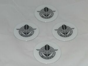 4 White Mclean Wire Wheel Rim Center Cap Round Sticker Logo 2 75 70mm Dia