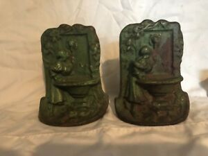Antique Cast Iron Maiden At Fountain Polychrome Statue Bookends Original